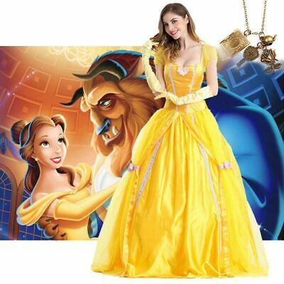 Adult Beauty and The Beast Princess Belle Cosplay Costume Ball Gown Yellow Dress