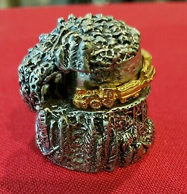 Pewter Mountain with gold moving train thimble