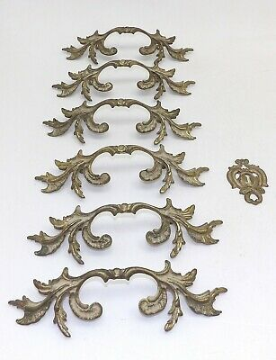 8 Antique Dresser Drawer Pulls Handles French Provincial Country Farmhouse Brass