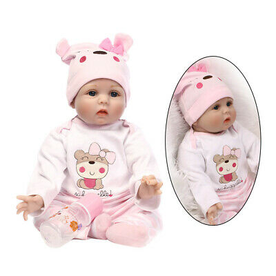 Lifelike Baby Doll Realistic Pretend Role Play Kids Toys Milk Bottle Silicone