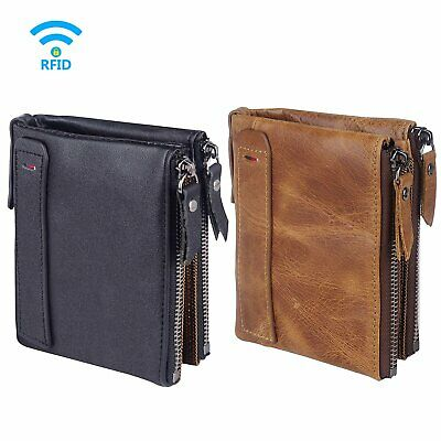 Mens Security Genuine RFID Blocking Bifold Leather Wallet With Zip Cash Coin