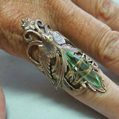 Vintage 925 Silver Emerald Zircon Ring Women Jewelry Anniversary Gift Size 6-10