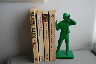Toy Soldier Bookend - Green Army Man Retro Military Novelty Man Cave