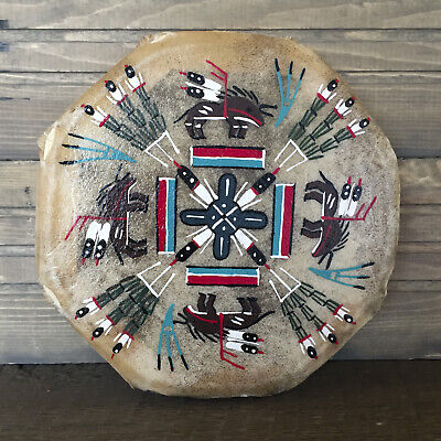 Native American Indian-Navajo Hand Painted Cochiti Drum-Buffalo People-Glen Nez