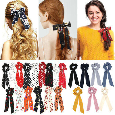 Ropes Elastic Floral Bow Scrunchie Ponytail Scarf Hair Rope Hair Bow Ties