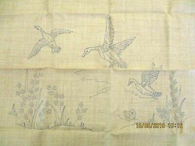 ~Bn Vintage Semco Cushion Cover To Embroider - Flying Ducks~