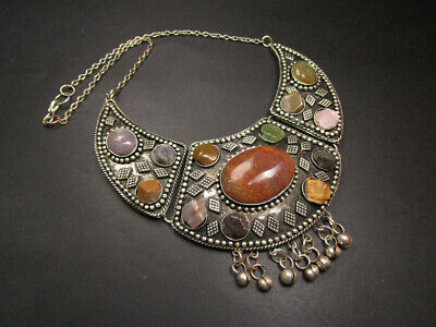 N04 Ethnic GYPSY Banjara Silver tone Tribal River agate stones Necklace Indian