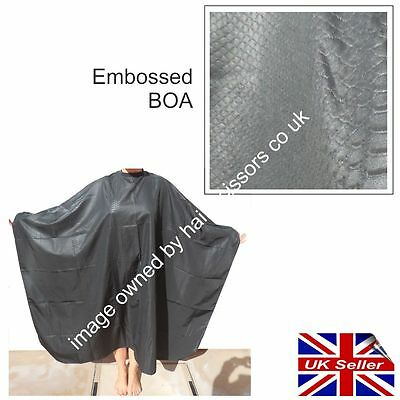 Hairdressing Cape SNAKE LOOK DESIGN Effect Embossed BOA Black Fastening Unisex