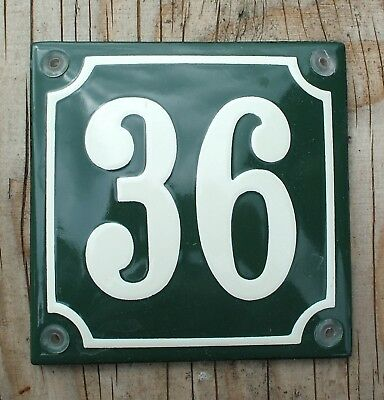 CLASSIC ENAMEL HOUSE NUMBER 36 SIGN. CREAM No.36 ON A GREEN BACKGROUND. 10x10cm.