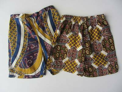 2 pairs of vintage cotton shorts USA surf African Tribal beach age 5-6 boys