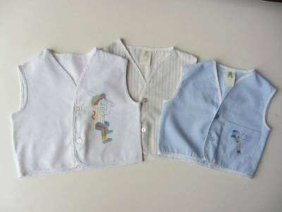 3 waistcoats 60's toddler cotton 18 months & age 4 American baseball