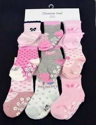Baby, Toddler Girl ABS Cotton Blend Anti Non Slip Socks 3 Pairs Size 0-12 months
