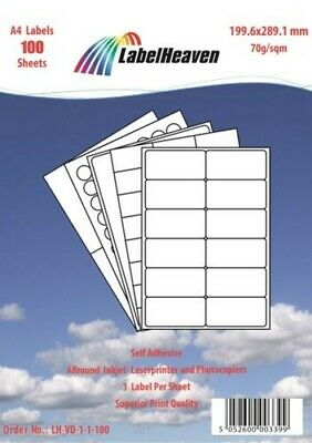 Universal Labels Self-Adhesive Format and Quantity to choose from LH LHVD1-LHVD4