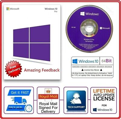 Brand New Microsoft Windows 10 Pro Professional Genuine 64Bit DVD & License Key