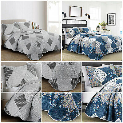 Floral Patchwork Bedspread Comforter Bedding Set Bed Throw Single Double King