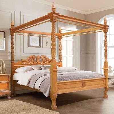 """USA KING 76""""x80""""  Mahogany Queen Anne French style four poster canopy bed"""