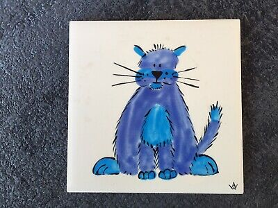 Vintage 1950s 1960s H & R Johnson Tile with Cat - Signed AW - Alan Wallwork??