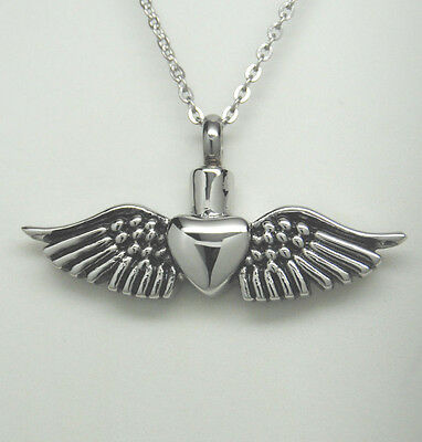 Cremation Jewelry Heart with Angel Wings Urn Necklace    Ashes Keepsake