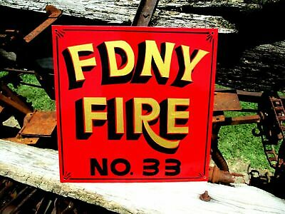 Antique Vintage Style NYFD New York Fire Dept Metal Hand Painted SIGN Shop ART