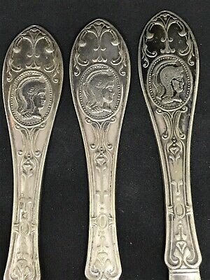 Antique Victorian Hall & Eaton Silver Plate & Butter Knives Spreader Medallion