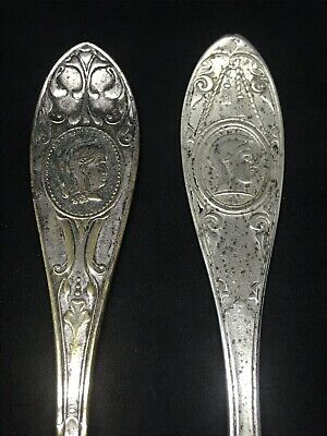 2 Antique Victorian Silver Plate Medallion Master Butter Knife Iyes Co 7.25''
