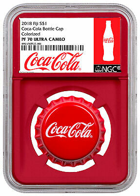 2018 Fiji Coca-Cola Bottle Cap-Shaped 6 g Silver NGC PF70 UC Red Core SKU54044