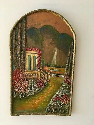 Vintage Folk Art Carved Relief raised panel on wood of colorful Italian scene