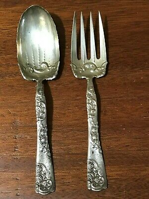"""Antique Whiting Sterling Silver """"Roses And Scrolls"""" Serving Spoon And Fork"""