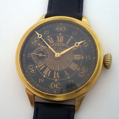 Rare Big ANTIQUE P. MOSER  Schaffhausen Swiss Wristwatch Gilt case
