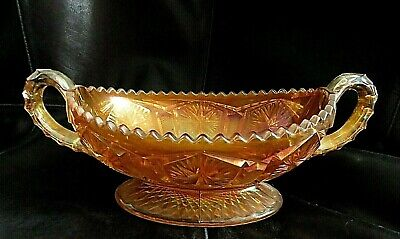 Star & File Imperial  MARIGOLD CARNIVAL GLASS 2 handled footed bowl/dish