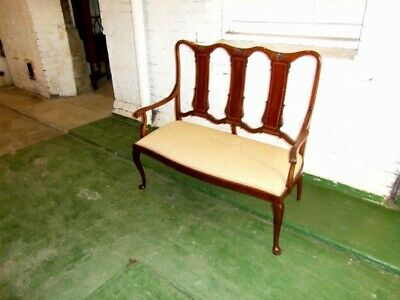 Edwardian Inlaid Mahogany Two Seater Settee