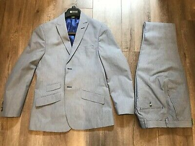 Ben Sherman Gray Blue Suit Linen Tailored Spring 36s
