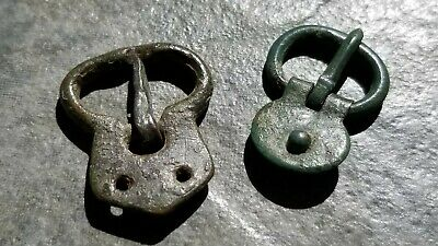 Lot of 2 Intact Bronze Byzantine/Medieval Bronze Belt/Strap Buckles,  27 -28 mm