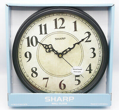 Wall Clock SHARP Black Vintage Style NEW farmhouse country antique old world