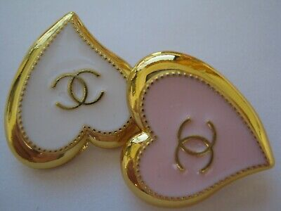 CHANEL 2  PINK  white BUTTONs  sz 20 X 21 mm GOLD  CC LOGO, 2 pc ADORABLE