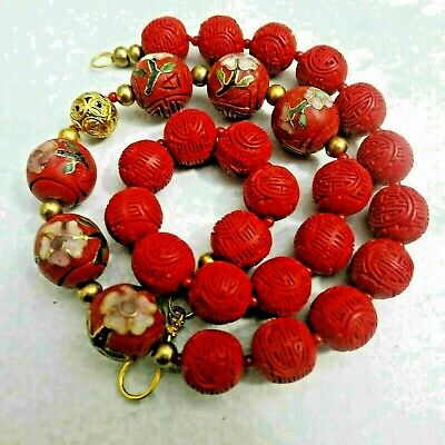 Rare Vintage Chinese Shou Carved Cinnabar Imbedded Cloisonne Lacquer necklace