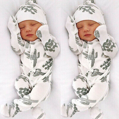 Newborn Infant Baby Boy Girl Cotton Romper Jumpsuit Bodysuit Hat Clothes Outfits