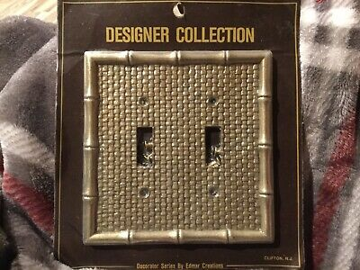 Vintage Bamboo Design Double Switch Plate Cover Metal Gold Color NIP