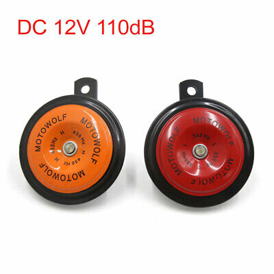 2Pcs Orange Red Metal Mount Car Vehicle Siren Electric Horn Trumpet DC 12V 110dB