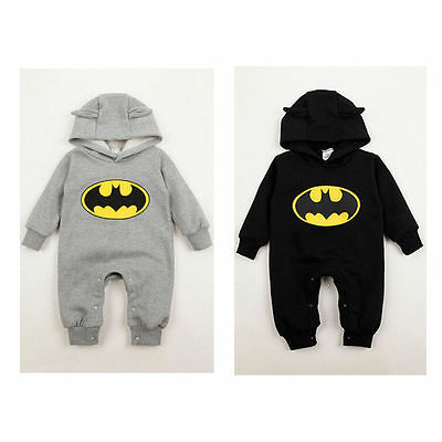 Winter Infant Baby Boy Girl Cotton Batman Hooded Romper Jumpsuit Clothes Outfit