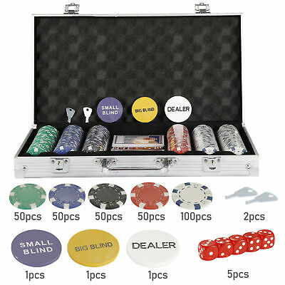 300 Chips Poker Chip Set 11.8 Gram Holdem Cards Game W/Aluminum Case & Dices