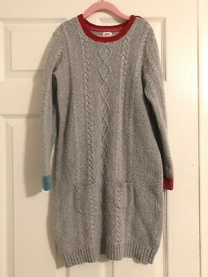Mini Boden Girl's Gray Cable Knit Wool Sweater Dress Size 2 Pockets 11-12Y