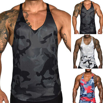 Mens Army Camo Camouflage Muscle GYM Underwear Sleeveless T-Shirt Tank Vest Top
