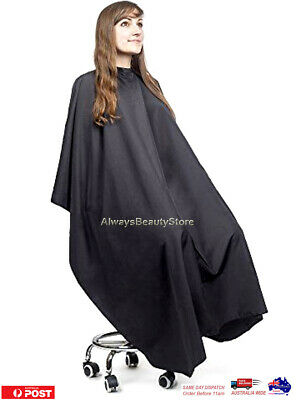 Hairdressing Style Cape Silky Feel Black Shampoo Capes With Metal Snaps Closure