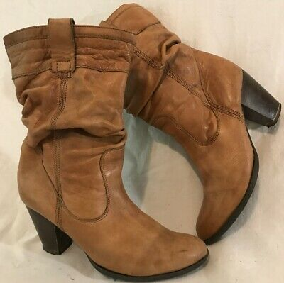 Dune Light Brown Mid Calf Leather Lovely Boots Size 37 (655v)