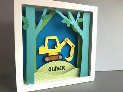 Personalised Baby Boy Kids Children's picture gift Framed Handmade Digger