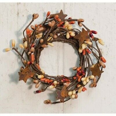 """2"""" Pip Berry Candle Ring with Rusty Stars - PUMPKIN SPICE COLOR"""