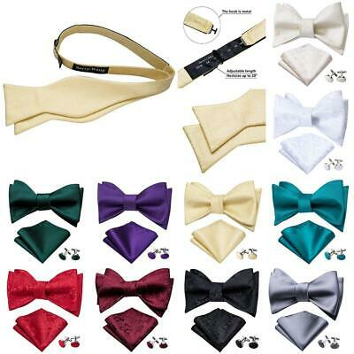 Mens Bow Ties Black Red Burgundy Gold White Solid Paisley Silk Bowtie Self Tie
