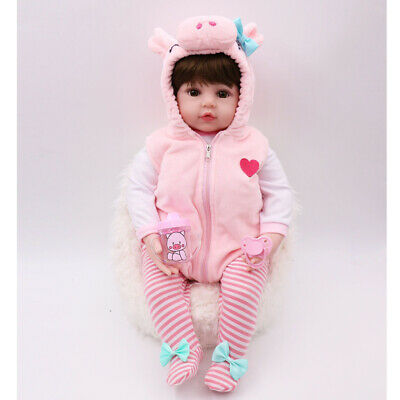 19inch 48cm Reborn Doll Lifelike Silicone Baby Doll Gift Toy Pig Vest Outfit