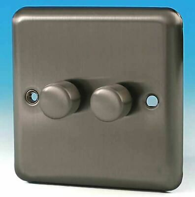 Varilight 2 Gang 1 Way 2x250W Rotary Dimmer Light Switch Brushed Matt Chrome